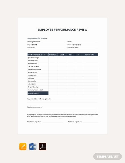 Employee Performance Review Template Free Beautiful Free Monthly Employee Review Template Download 82 forms