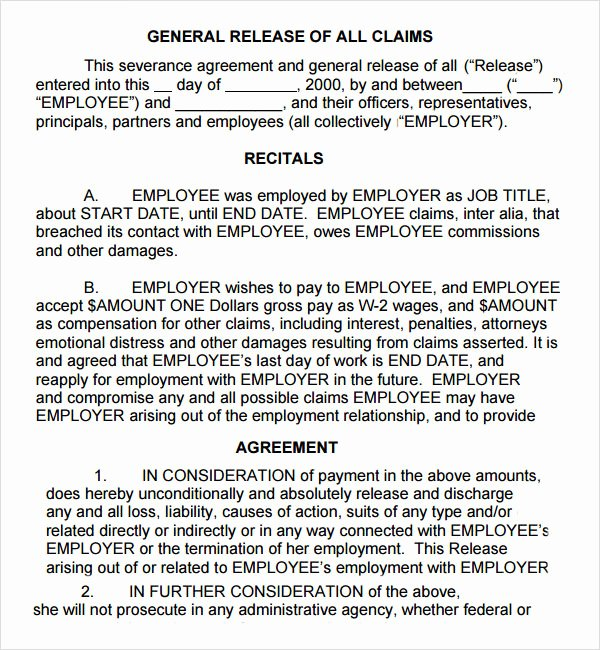 Employee Separation Agreement Template Awesome Severance Agreement 6 Free Pdf Doc Download