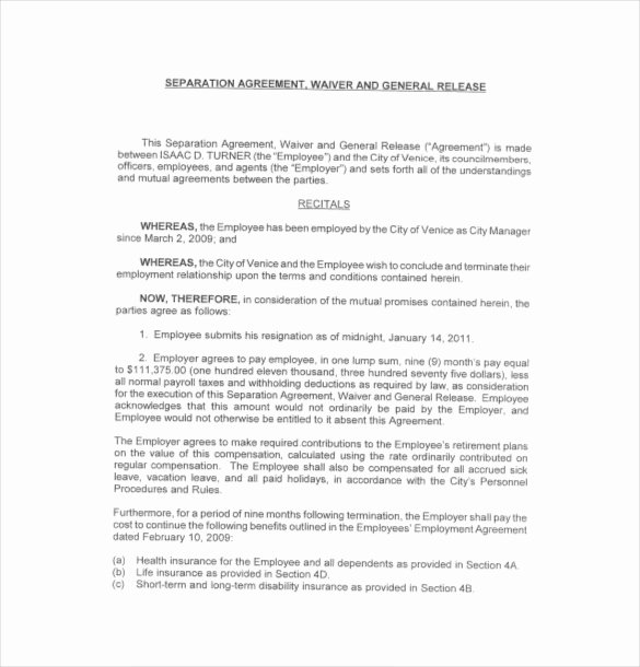Employee Separation Agreement Template Best Of 17 Separation Agreement Templates Free Sample Example