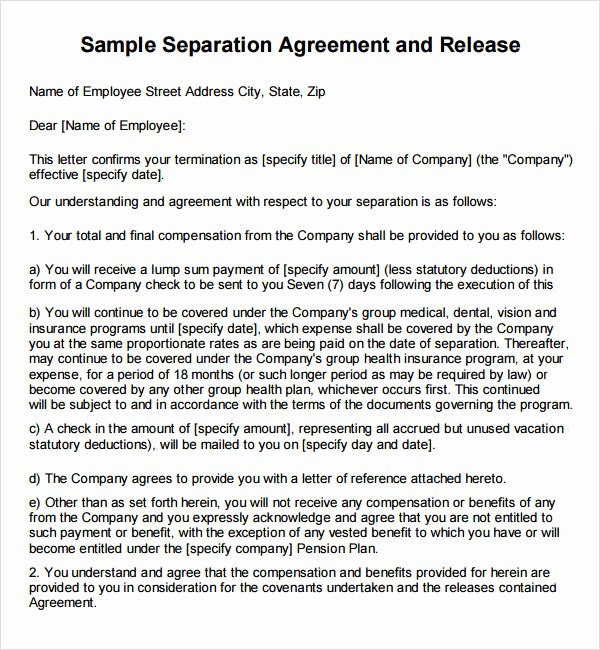 Employee Separation Agreement Template Fresh Severance Agreement 6 Free Pdf Doc Download