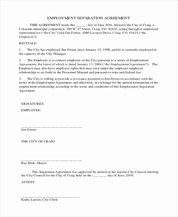 Employee Separation Agreement Template Luxury 9 Employment Agreement form Samples Free Sample