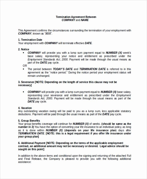 Employee Separation Agreement Template Luxury Sample Employment Separation Agreement 8 Documents In