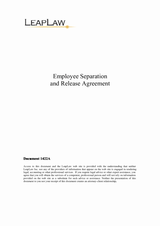 Employee Separation Agreement Template New Employee Separation and Release Agreement Printable Pdf