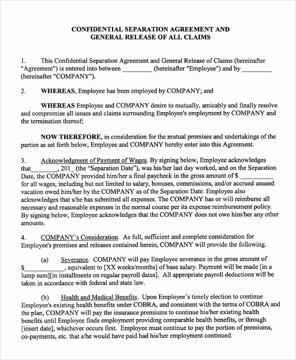 Employee Separation Agreement Template Unique Sample Employment Separation Agreement 8 Documents In