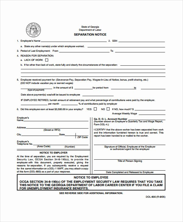 Employee Separation form Template Elegant 23 Of Business Separation Agreement Template Texas