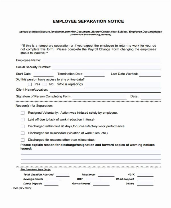 Employee Separation form Template Elegant Employment form Templates