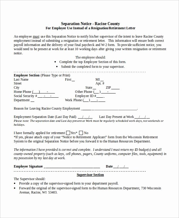 Employee Separation form Template Luxury 14 Separation Notice Templates Google Docs Ms Word