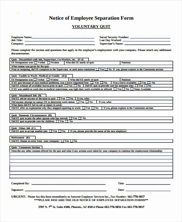 Employee Separation form Template New 37 Notice forms In Pdf