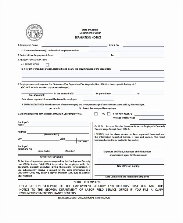 Employee Separation form Template New 9 Separation Notice Templates Pdf Google Docs Ms Word