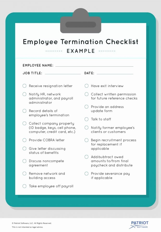 Employee Separation form Template New Employee Separation Checklist