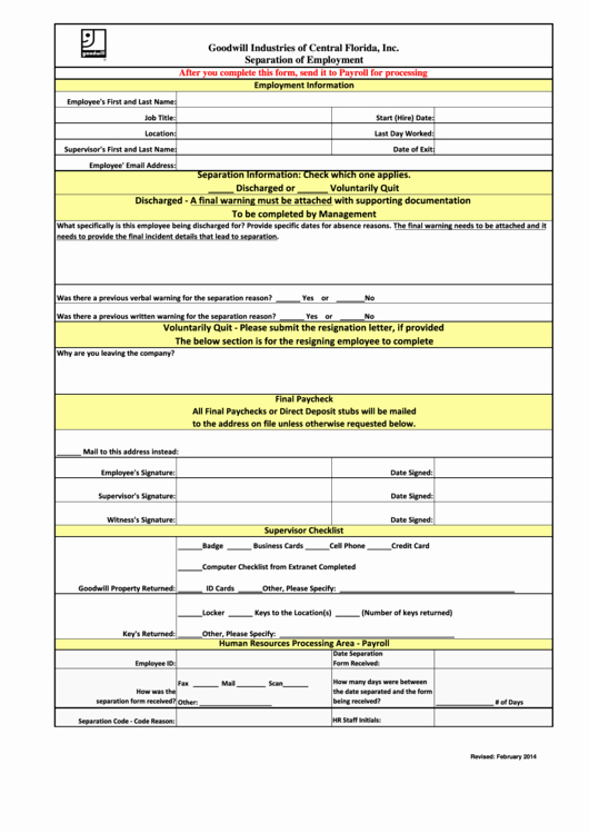 Employee Separation form Template New top 27 Employee Separation form Templates Free to