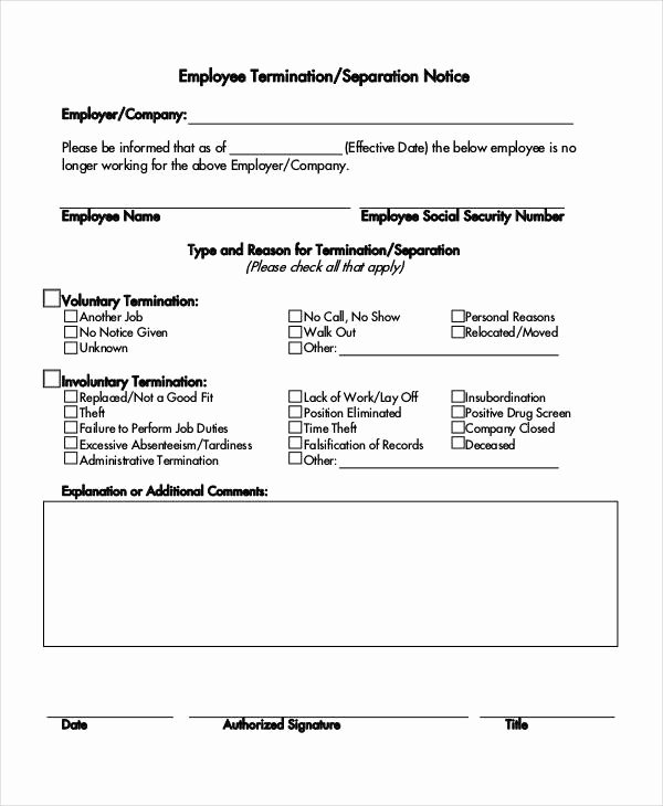 Employee Separation form Template Unique Separation