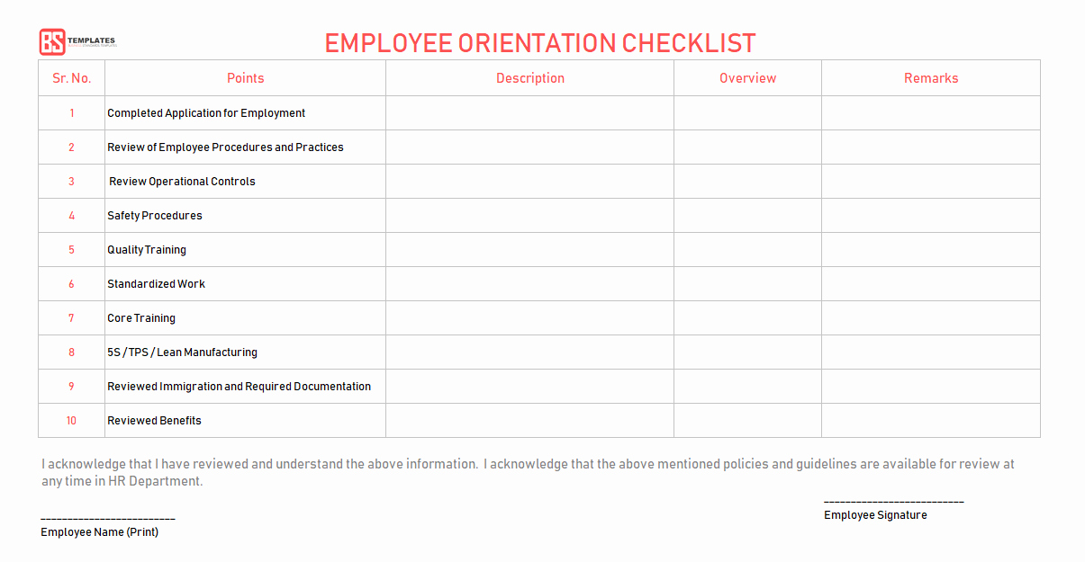 Employee Training Checklist Template Awesome New Employee orientation Checklist – Word Excel