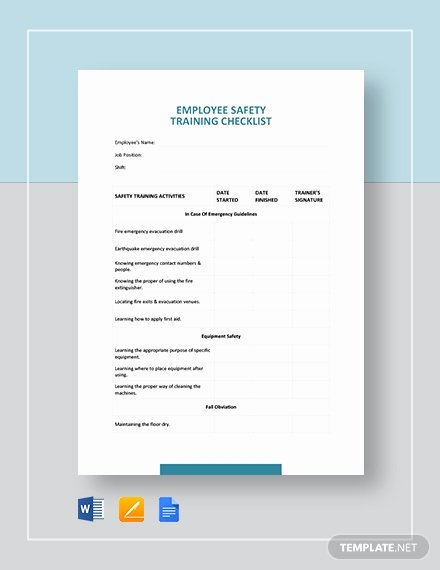 Employee Training Checklist Template Inspirational Employee Safety Training Checklist Template Download 285