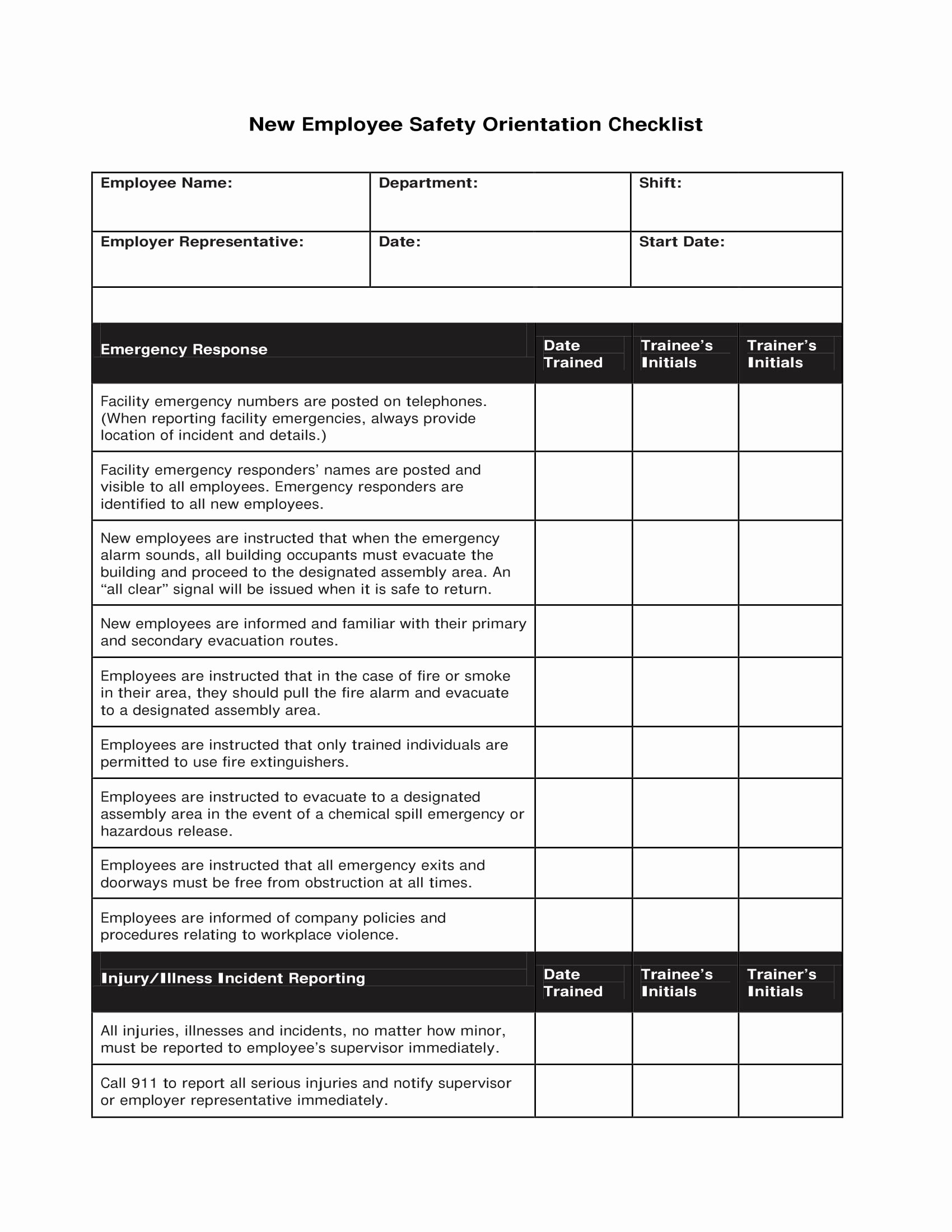 Employee Training Checklist Template Lovely 12 New Employee orientation Checklist Examples Pdf