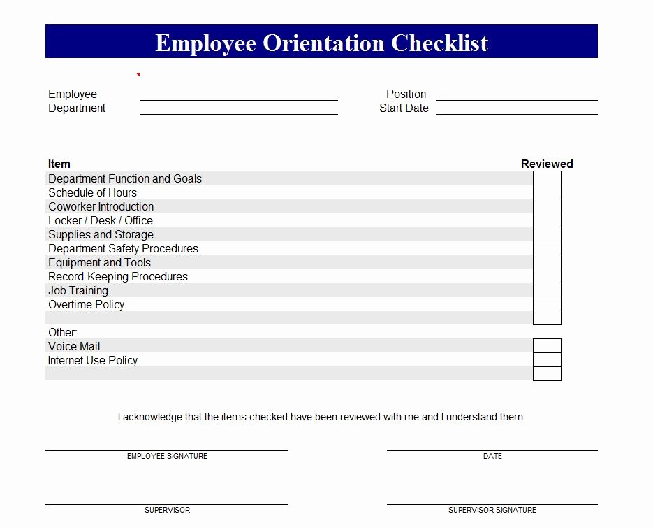 Employee Training Checklist Template Lovely Employee orientation Checklist
