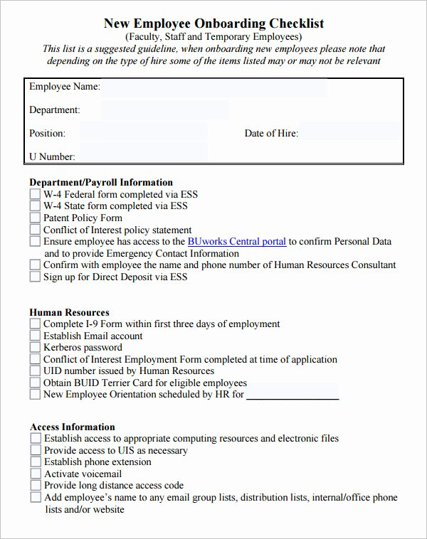 Employee Training Checklist Template Unique 26 Hr Checklist Templates Free Sample Example format