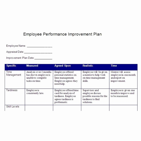 Employee Work Plan Template Awesome Create A Performance Improvement Plan Based On Smart Goals