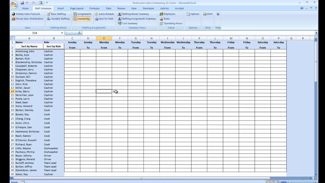 Employee Work Plan Template Awesome Employee Availability