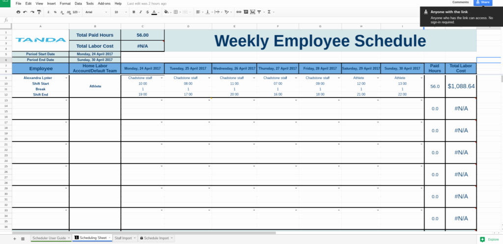 Employee Work Plan Template Awesome Free Work Schedule Templates for Google Spreadsheets