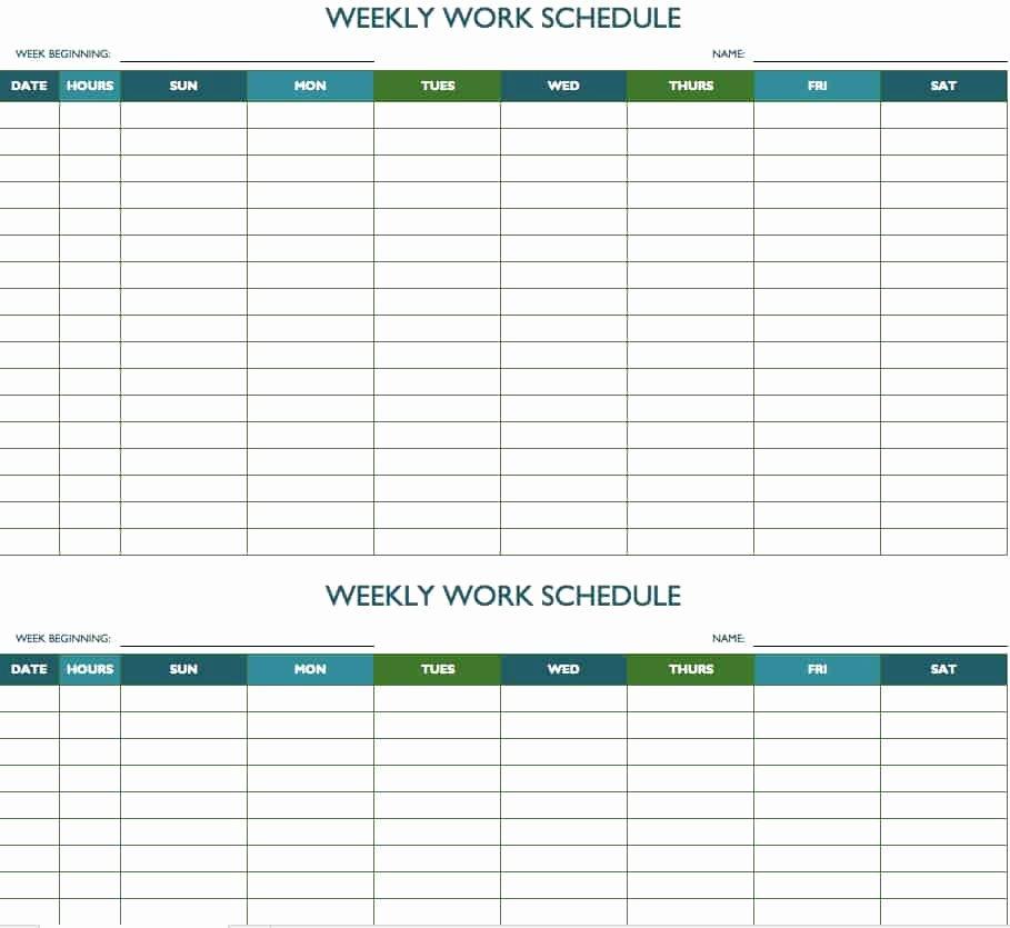 Employee Work Plan Template Best Of Free Weekly Schedule Templates for Excel Smartsheet