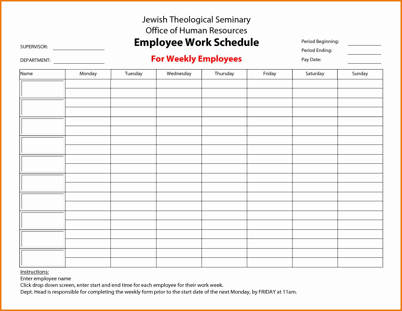 Employee Work Plan Template Elegant Free Employee Work Schedule
