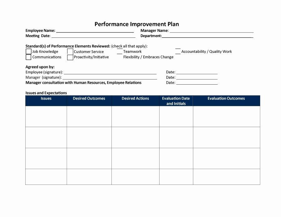 Employee Work Plan Template Inspirational Employee Improvement Plan Template