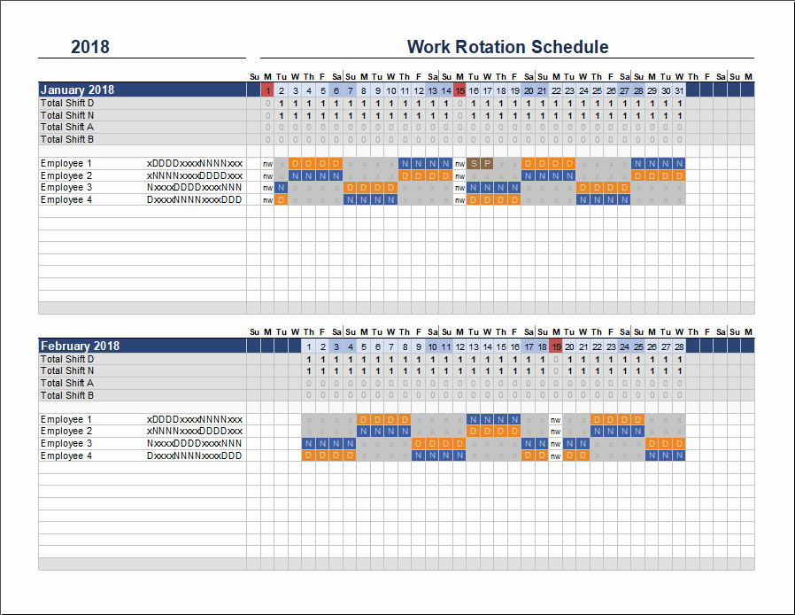 Employee Work Plan Template Luxury Free Rotation Schedule Template