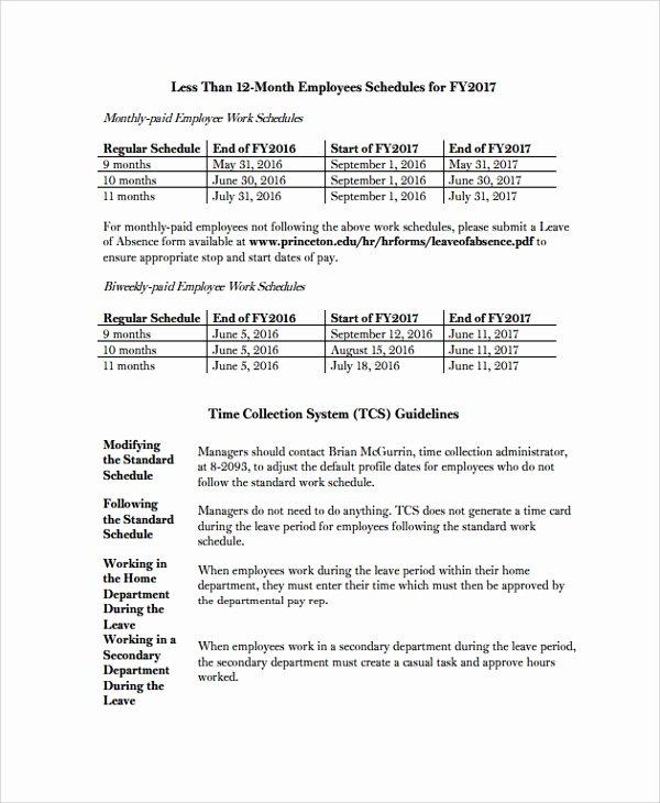 Employee Work Plan Template Luxury Sample Employee Work Schedule Template 10 Free