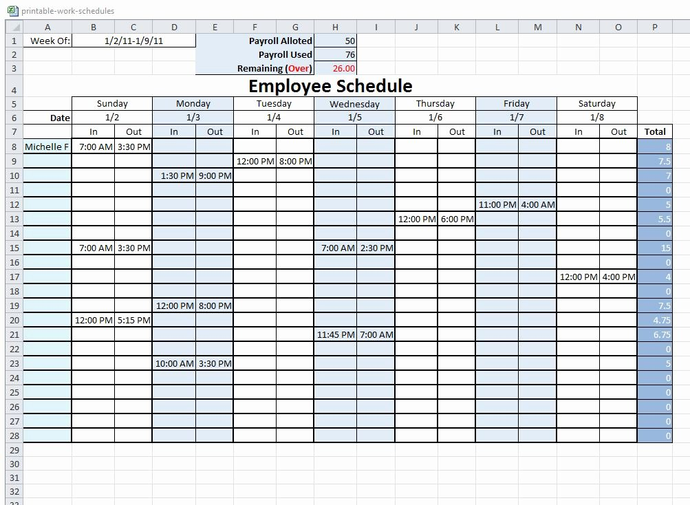 Employee Work Plan Template Unique Free Printable Employee Schedule