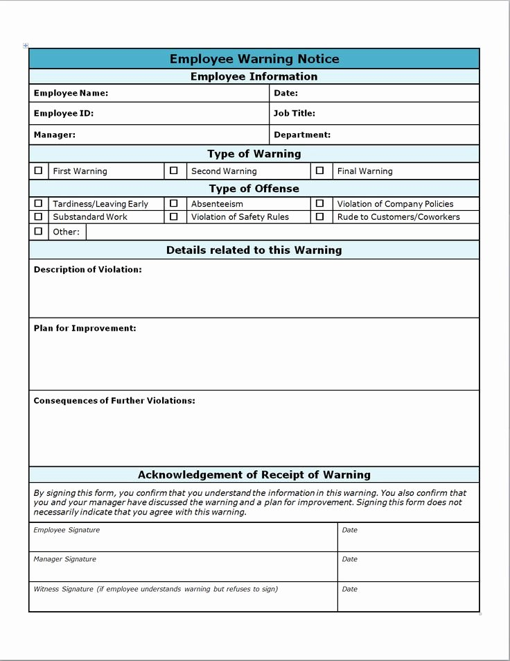 Employee Write Up form Template Awesome Employee Write Up form Projects to Try