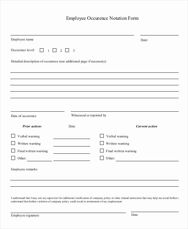 Employee Write Up form Template Beautiful Employee Write Up form 6 Free Word Pdf Documents