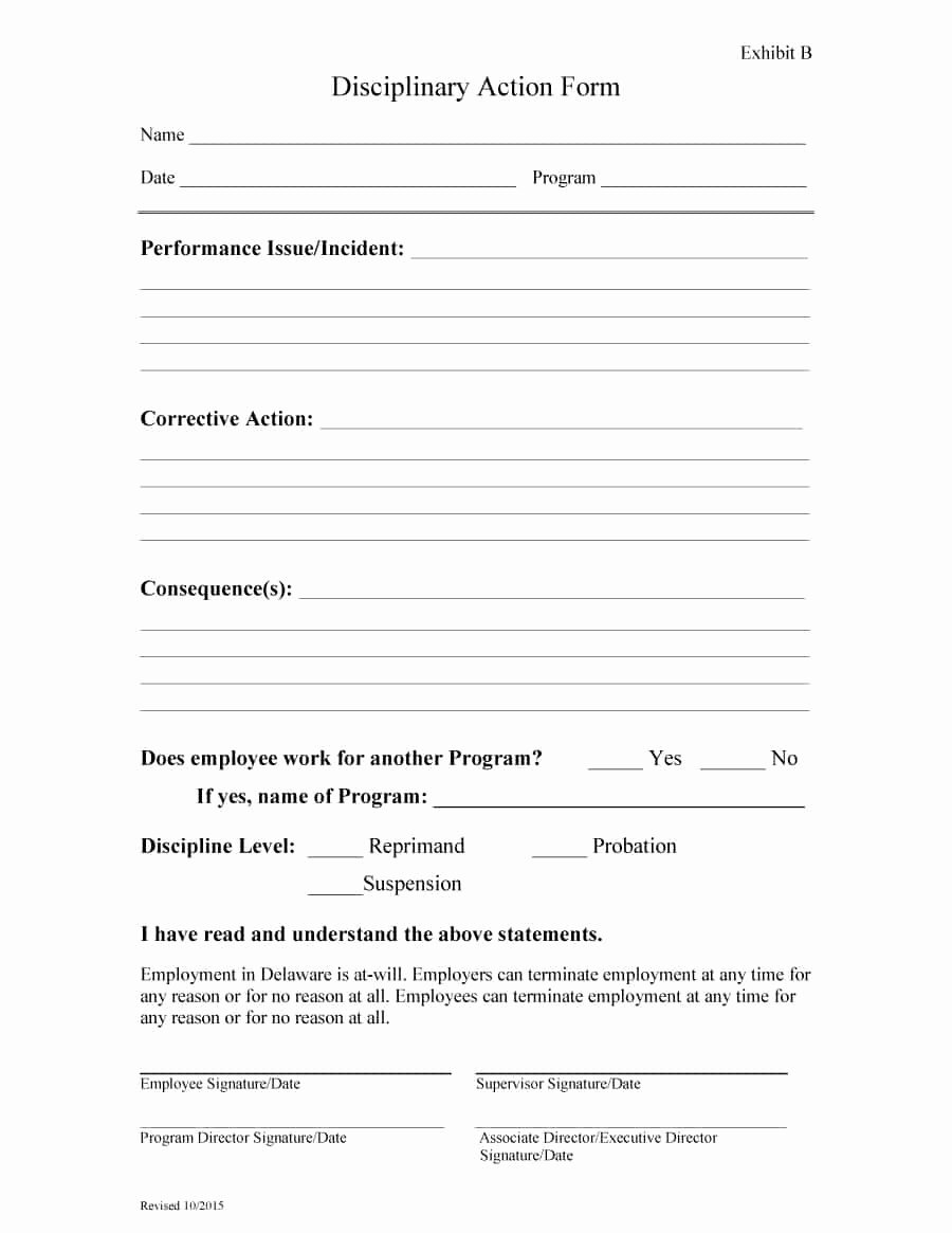 Employee Write Up form Template Best Of 46 Effective Employee Write Up forms [ Disciplinary