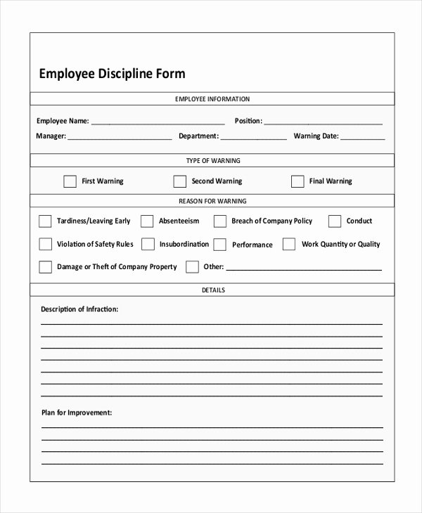 Employee Write Up form Template Fresh Employee Discipline form