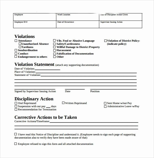 Employee Write Up form Template Fresh Employee Write Up form Free Download