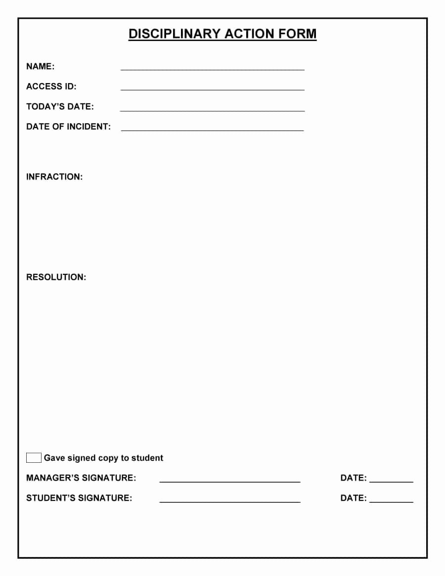 Employee Write Up form Template Inspirational Employee Write Up form