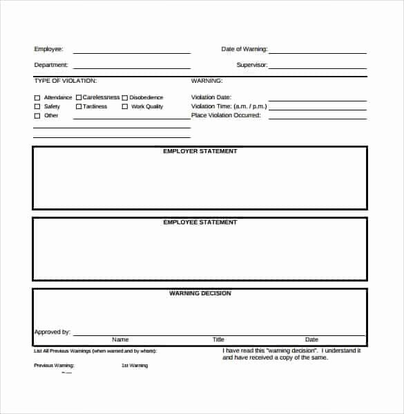 Employee Write Up form Template Lovely Employee Write Up forms Find Word Templates