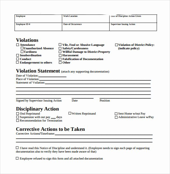 Employee Write Up form Template Unique Sample Employee Write Up form 7 Documents In Pdf