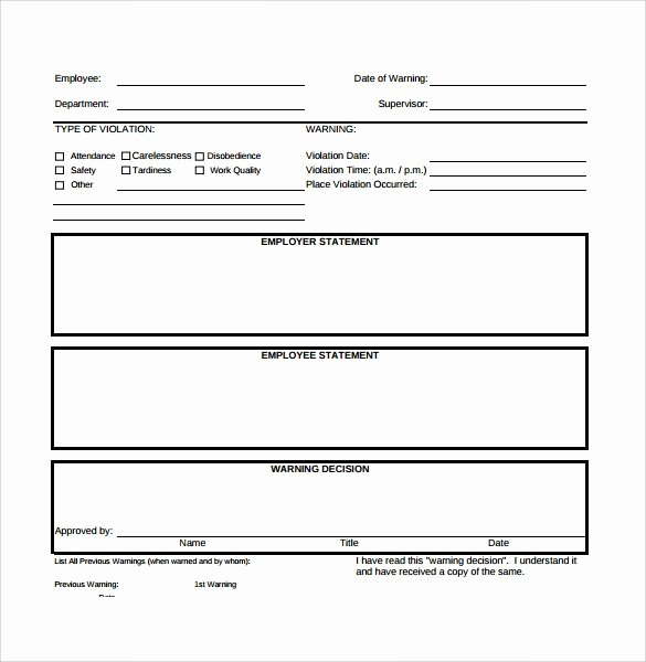 Employee Write Up forms Template Beautiful Free Employee Write Up form Printable