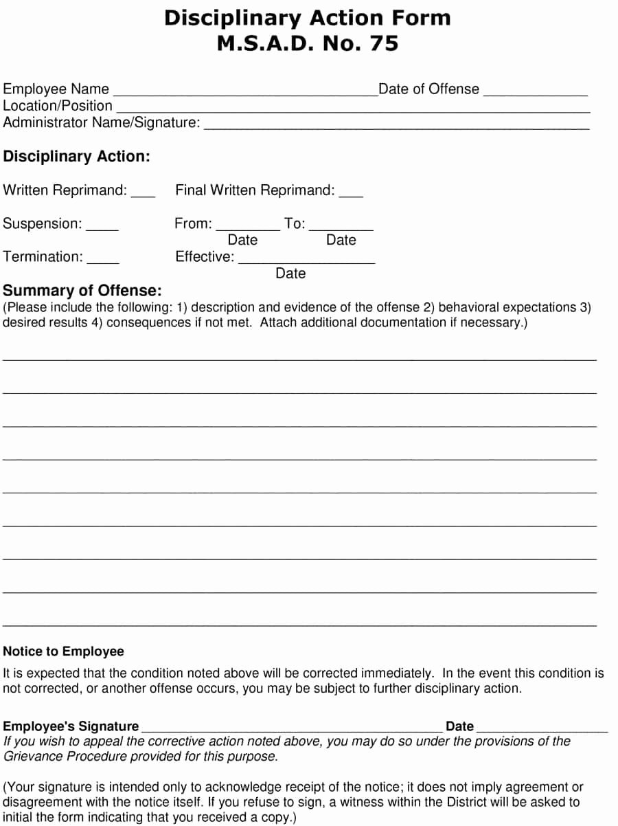 Employee Write Up forms Template Best Of 46 Effective Employee Write Up forms [ Disciplinary