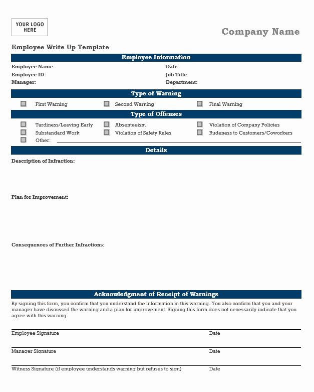 Employee Write Up forms Template Fresh Employee Write Up form 10 Plus Free Example Template