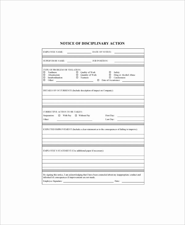 Employee Write Up forms Template Inspirational Sample Employee Write Up form 7 Documents In Pdf