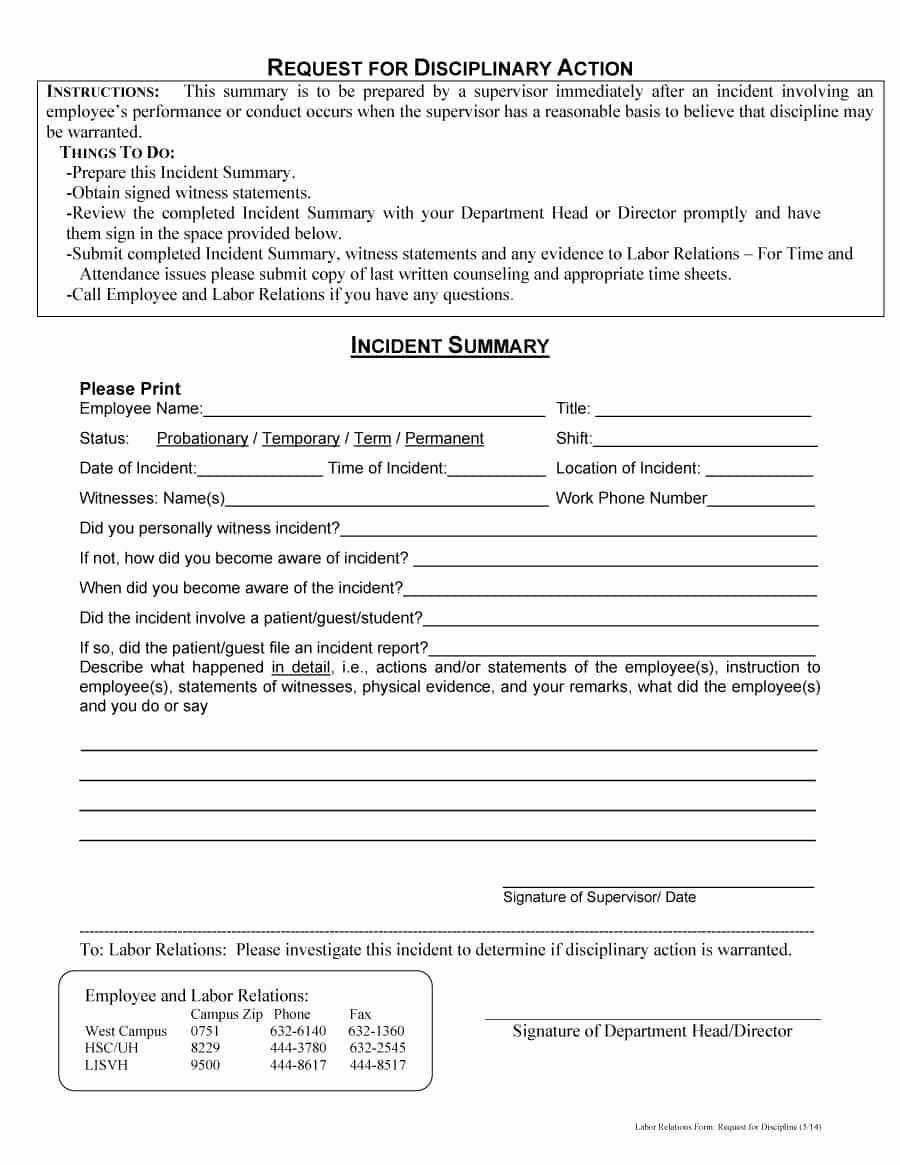 Employee Write Up forms Template New 46 Effective Employee Write Up forms [ Disciplinary