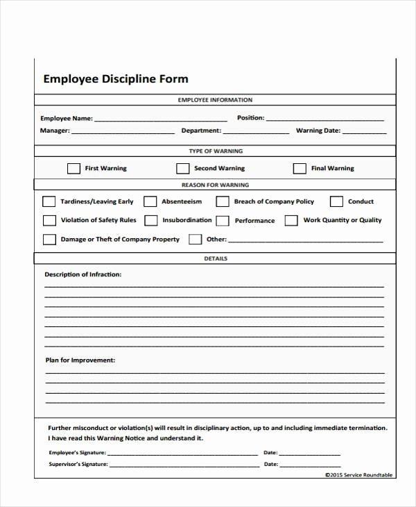 Employee Write Up Templates Elegant Employee Write Up form Free Printable