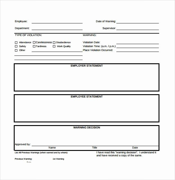 Employee Write Up Templates New 40 Employee Write Up form Templates [word Excel Pdf]
