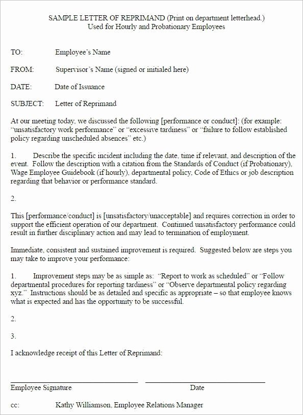 Employee Write Ups Templates Beautiful Write Up Letter for Employee Sample