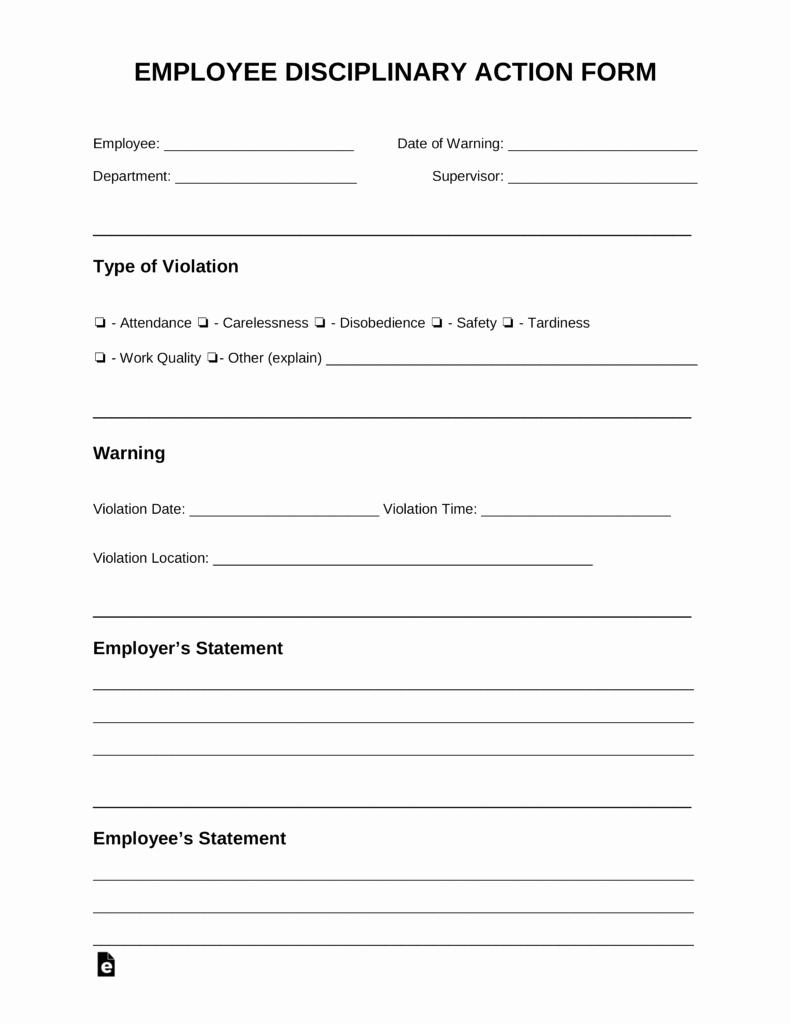 Employee Write Ups Templates Fresh Free Employee Disciplinary Action Discipline form Pdf