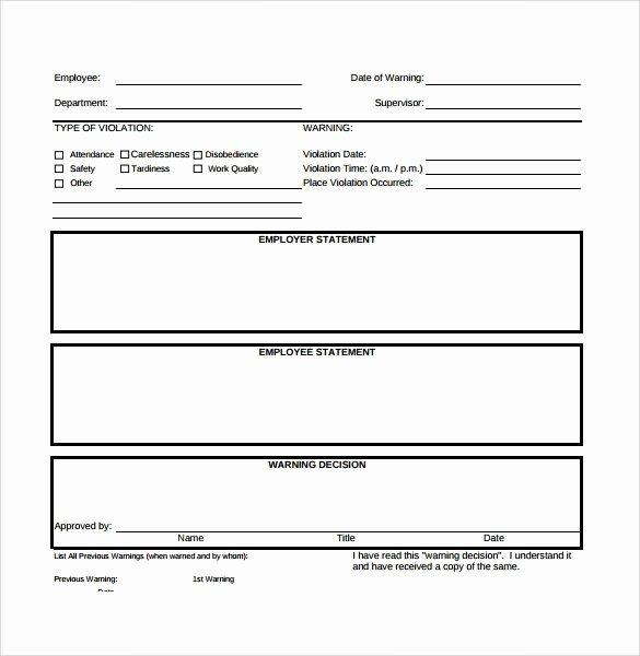 Employee Write Ups Templates Luxury Free Employee Write Up form Printable