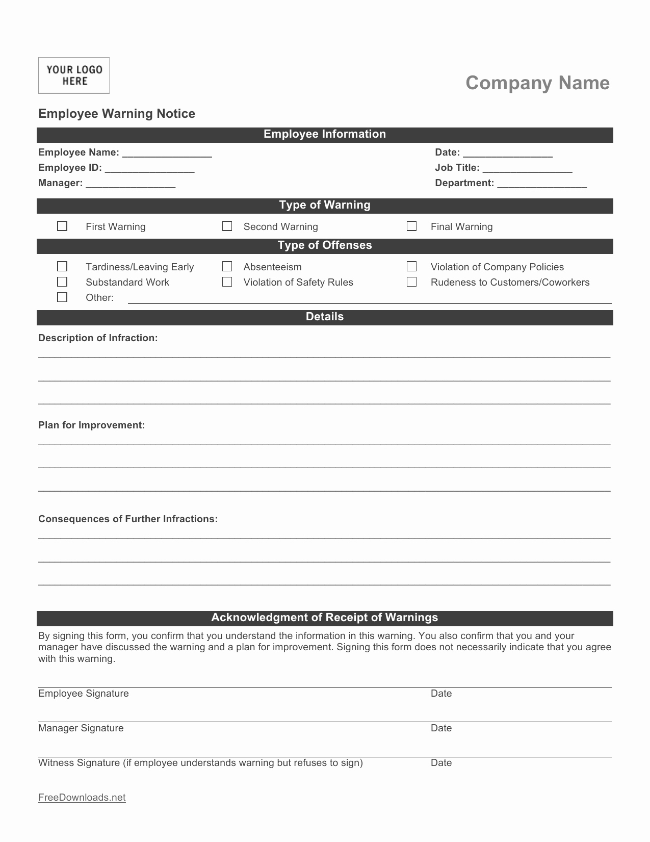 Employee Write Ups Templates New Download Employee Write Up form Pdf Rtf