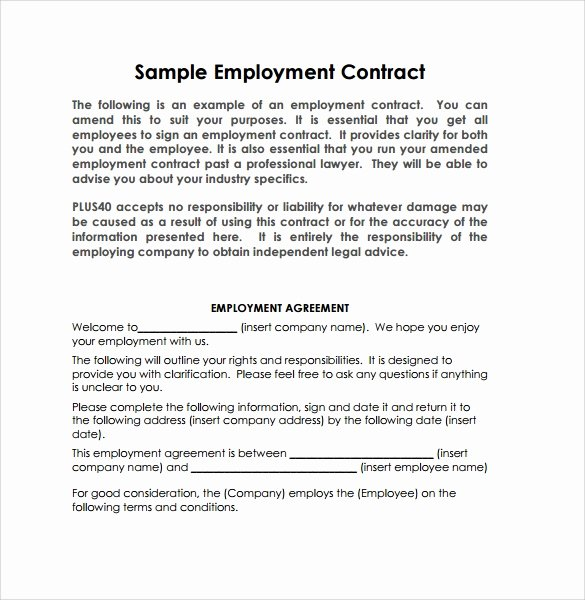 Employment Agreement Template Word Awesome 23 Sample Employment Contract Templates Docs Word